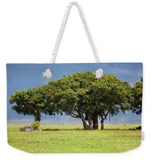 Tree On Savannah. Ngorongoro In Tanzania Weekender Tote Bag