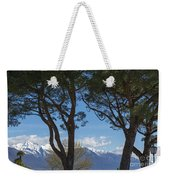 Trees And Snow-capped Mountain Weekender Tote Bag
