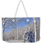 Trees In Snow  Wisconsin Weekender Tote Bag by Anonymous