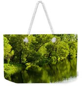 Trees Reflecting In River Weekender Tote Bag by Elena Elisseeva