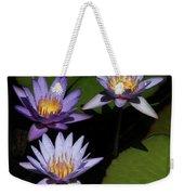 Trio Of Purple Water Lilies Weekender Tote Bag