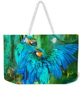 Tropic Spirits - Gold And Blue Macaws Weekender Tote Bag