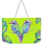 Tropical Birds Blue And Chartreuse Weekender Tote Bag