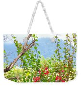 Tropical Red Against Cool Mountain Mists Weekender Tote Bag