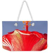 Tropical Red Hibiscus Flower Against Blue Sky  Weekender Tote Bag
