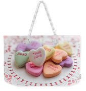 True Love Valentine Candy Hearts Weekender Tote Bag