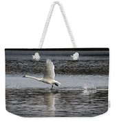 Trumpeter Swan Walking On Water Weekender Tote Bag