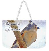 Tufted Titmouse Christmas Card Weekender Tote Bag