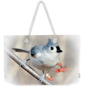Tufted Titmouse Love  Weekender Tote Bag