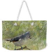 Tufted Titmouse With Decorations Weekender Tote Bag