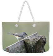 Tufted Titmouse With Seed Weekender Tote Bag