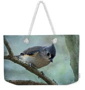 Tufted Titmouse With Snowflake Decorations Weekender Tote Bag