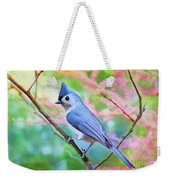 Tufted Titmouse With Spring Booms - Digital Paint II Weekender Tote Bag