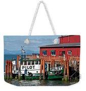 Tug Boat Pilot Docked On Waterfront Art Prints Weekender Tote Bag