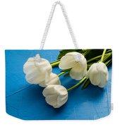 Tulip Flowers Over Blue Weekender Tote Bag