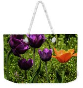 Tulip Time Purple And Orange Weekender Tote Bag