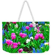 Tulips And Pansies And Grape Hyacinth By Lutheran Cathedral Of Helsinki-finland Weekender Tote Bag