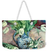 Tulips And Snowdrops Weekender Tote Bag by Julia Rowntree