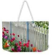 Tulips Garden Along White Picket Fence Weekender Tote Bag