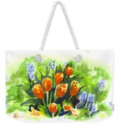 Tulips With Blue Grape Hyacinths Explosion Weekender Tote Bag