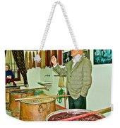 Turkish Rug Salesman Explains About Natural Dye Vats In Weaving Factory In Avanos-turkey  Weekender Tote Bag