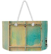 Turquoise And Pale Yellow Panel Door Weekender Tote Bag