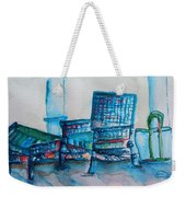 Turquoise Check In Weekender Tote Bag