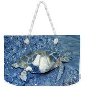 Turtle On Black Sand Beach Weekender Tote Bag