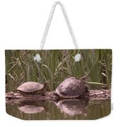 Turtle Struggling To Rest On A Log With Its Buddy Weekender Tote Bag