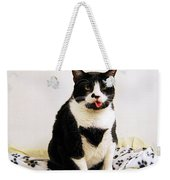 Tuxedo Cat Sticking Out Her Tongue Weekender Tote Bag by Catherine Sherman