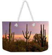 Twilight After Sunset In The Cactus Forests Of Saguaro National Park Weekender Tote Bag
