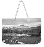 Twin Peaks Mt Meeker And Longs Peak Bw Country Weekender Tote Bag