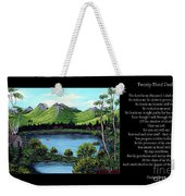 Twin Ponds And 23 Psalm On Black Horizontal Weekender Tote Bag