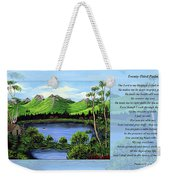 Twin Ponds And 23 Psalm On Blue Horizontal Weekender Tote Bag