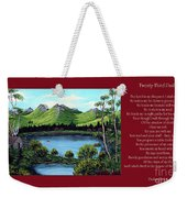 Twin Ponds And 23 Psalm On Red Horizontal  Weekender Tote Bag