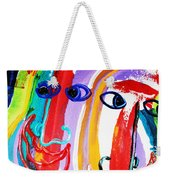 Two Abstract Faces Weekender Tote Bag