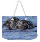 Two African Elephants Swimming In The Chobe River Weekender Tote Bag