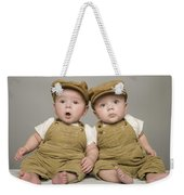 Two Babies In Matching Hat And Overalls Weekender Tote Bag