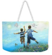 Two Brothers Leaping Weekender Tote Bag
