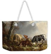 Two Bulls Defend Against A Cow Attacked By Wolves Weekender Tote Bag