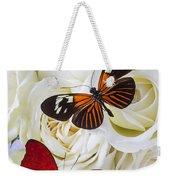 Two Butterflies On White Roses Weekender Tote Bag