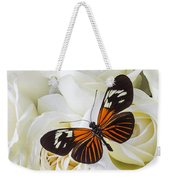 Two Butterflies On White Roses Weekender Tote Bag