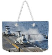 Two Ch-46e Sea Knight Helicopters Weekender Tote Bag