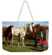 Two Children Admire Horses Weekender Tote Bag
