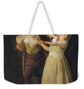 Two Children Fighting Over A Piece Of Bread Weekender Tote Bag