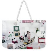 Two Children Playing With Vintage Toys Weekender Tote Bag