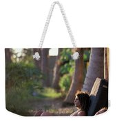 Two Climbers Sitting On Crash Pads Weekender Tote Bag