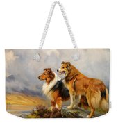 Two Collies Above A Lake Weekender Tote Bag