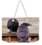 Two Common Ravens Corvus Corax Interacting Weekender Tote Bag