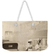 Two Edwardian Ladies Crossing A Cobbled Street Weekender Tote Bag